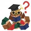 Clever owl with books — Stock Vector