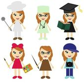 Six girls of different professions — Stock Vector