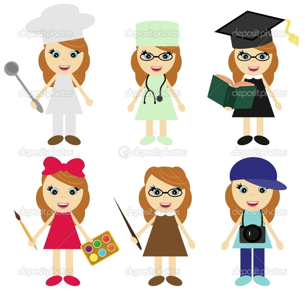 Six girls of different professions on white background — Stock Vector #4382401