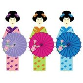Three girls in japanese dress — Stock Vector