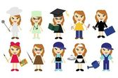 Young women of ten different jobs — Stock Vector