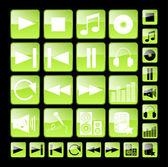 緑のメディアのアイコン — ストックベクタ