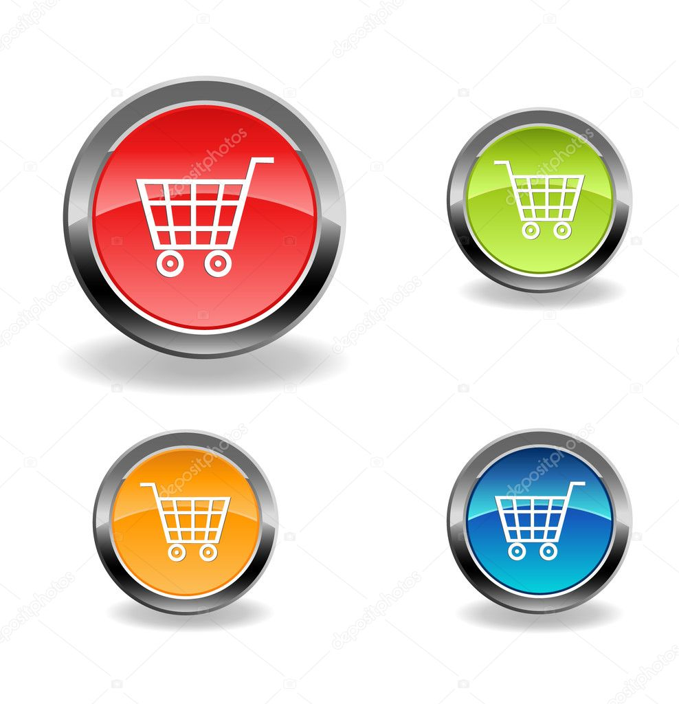 Vector cart web buttons with shadow — Stock Vector #4010429
