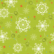 Stock Vector: Green snowflakes seamless pattern