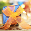 Stock Photo: Blue christmas gift box