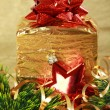 Golden christmas gift box — Stock Photo