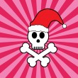 Stock Vector: Skull in santa hat