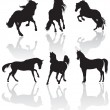 Vector horse silhouettes — Stock Photo #5247833