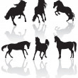 Vector horse silhouettes - Stock Photo