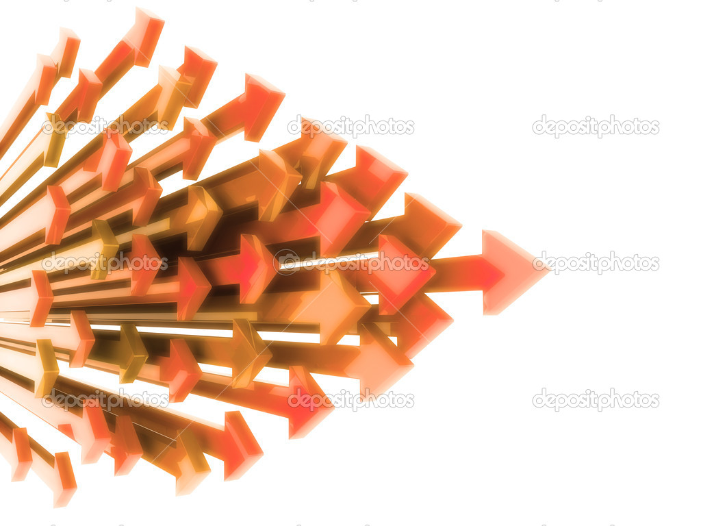Abstract background with orange arrows in motion on white