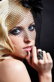 Beautiful blonde in veil — Stock Photo