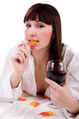 Woman with wineglass — Stock Photo