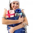 Girl with gift — Stockfoto
