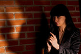 Woman With Hand Gun — Stock Photo