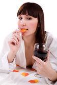 Mujer con copa de vino — Foto de Stock