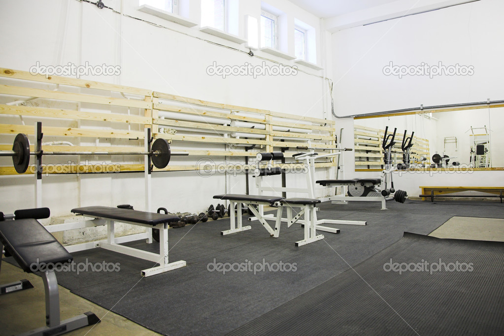 Empty gym room with big mirror on wall  Stock Photo #4657249
