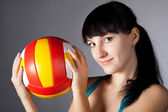 Woman with ball — Stockfoto