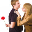 Couple with flower — Stock Photo #4776598