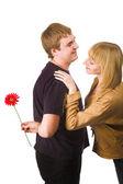 пара с цветком — Стоковое фото