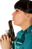Woman With Hand Gun — Stock Photo