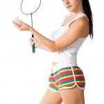 Woman with badminton racket — Stock Photo #4920274