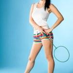 Woman with badminton racket — Stock Photo #4920283