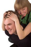 Happy Young Couple Hugging — Stock Photo