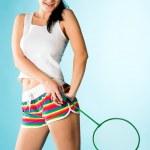 Woman with badminton racket — Stock Photo #5108866