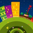 Funny city at night — Imagen vectorial