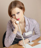 Office worker with phone — Stock Photo