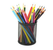 Colored pencils in a basket — Stock Photo