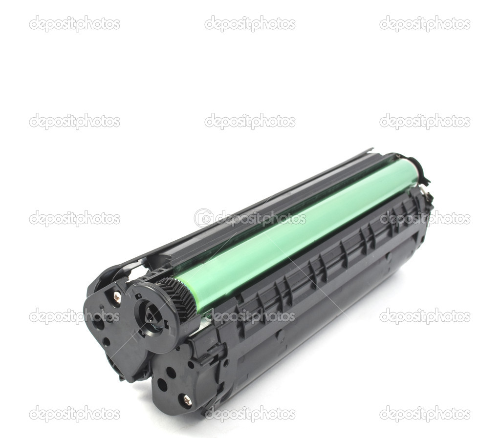 Laser printer toner cartridge on white background — Stock Photo #4053747