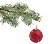 Spruce twig with a Christmas toy — Stock Photo