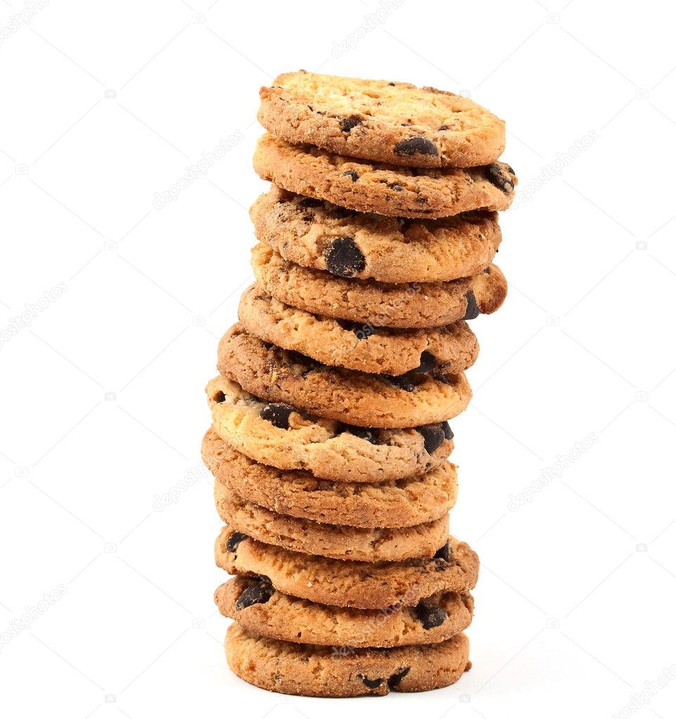Cookies with chocolate on a white background — Stock Photo #4121728