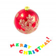 Christmas decorations - Merry Christmas and a red ball — Stockfoto