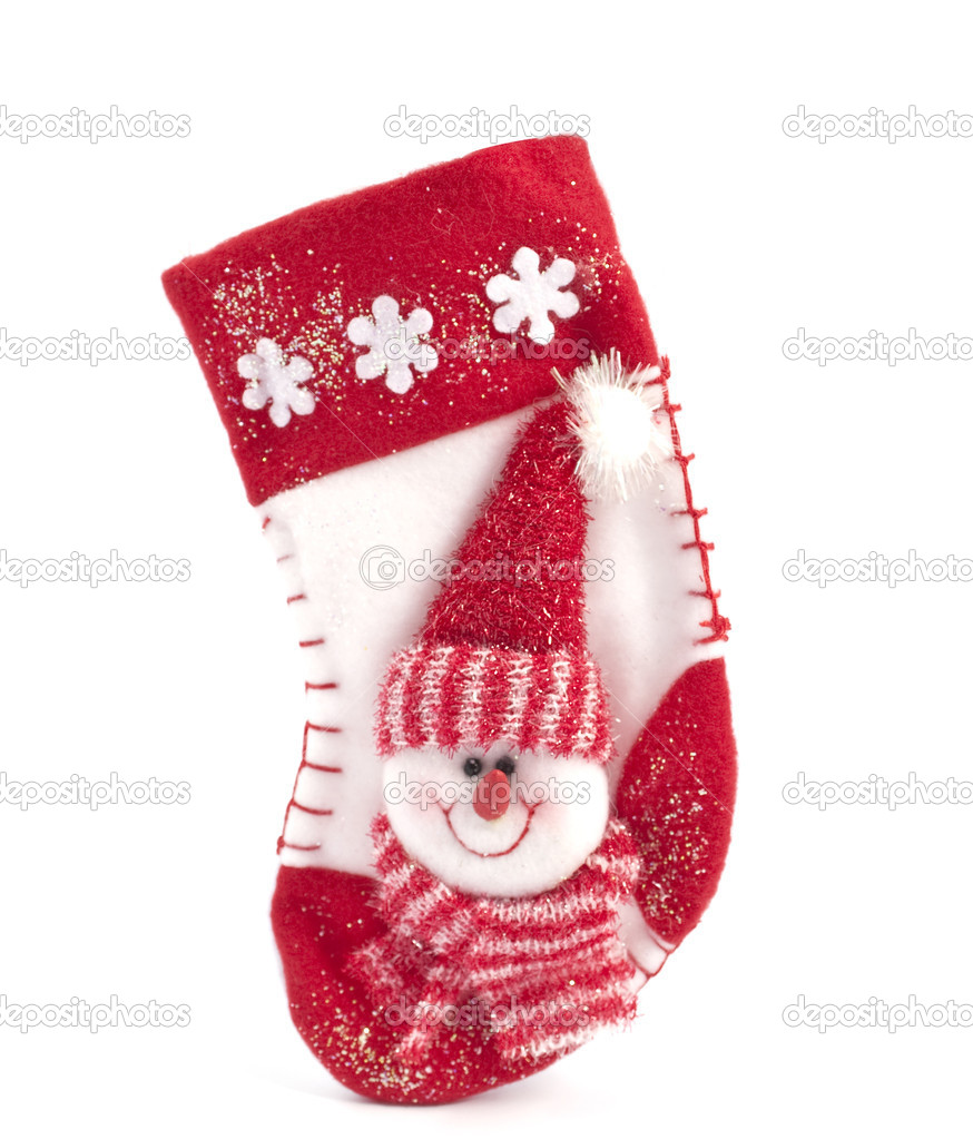 Hanging Christmas Stocking on a white background — Foto de Stock   #4589517