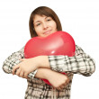 Girl with balloon in the form of heart — Stock Photo #4911082