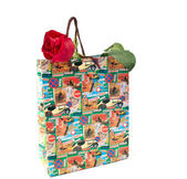 Shopping bags and a rose — Stock Photo