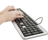 Woman's hands on the keyboard — Photo
