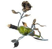 Metal rose and a bottle of wine — Stock Photo