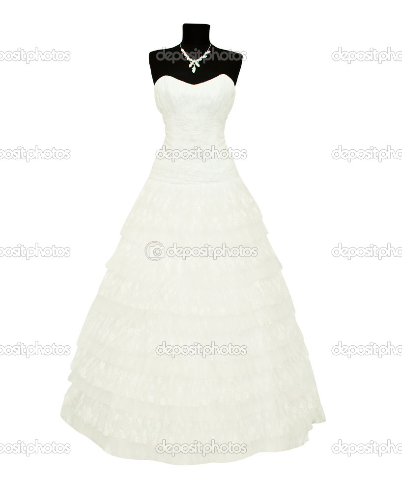 Wedding dress on a mannequin on a white background — Stock Photo #5134876