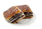 Cake with poppy seeds on a plate — Stock Photo