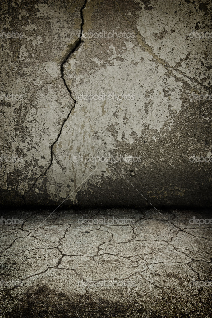 Rusty cracked concrete dark  vintage interior with artostic shadows added — Stock Photo #4079350