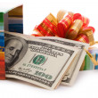 Gift box full of dollar bills — Stockfoto