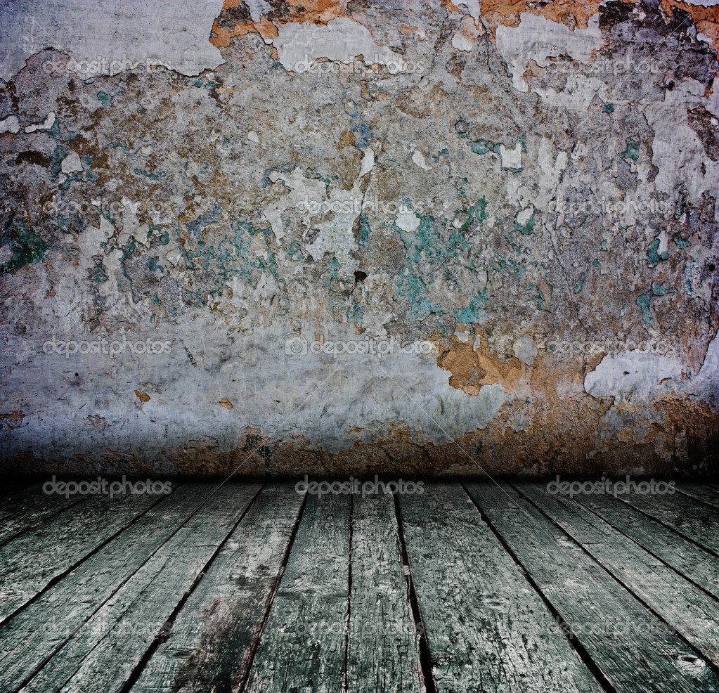 Creative dark grunge concrete interior with wooden floor - artistic shadows added  — Stock Photo #4262766