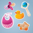 Baby's toys icon set - vector illustration — Stock Vector