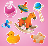 Baby's toys collection — Stock Vector