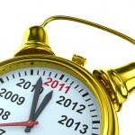 Year calendar on alarm clock. Isolated 3D image — Stock Photo #4015184