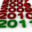 2010 year from grass. Isolated 3D image — Stock Photo