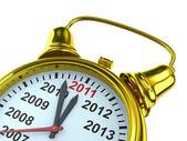 Year calendar on alarm clock. Isolated 3D image — Stock Photo